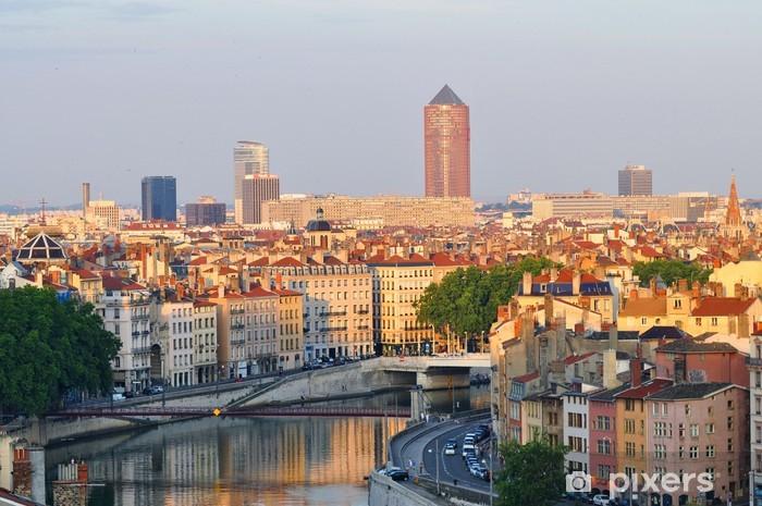 Sticker Pixerstick Quai de saone et la tour de la Part-Dieu à Lyon en France - Vacances
