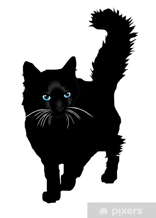 Sticker Pixerstick Black cat silhouette avec eays de couleur vecteur - Mammifères