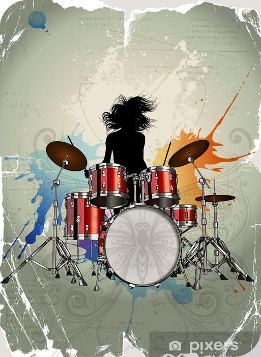Vinyl Fotobehang Meisje spelen de drums - Muziek