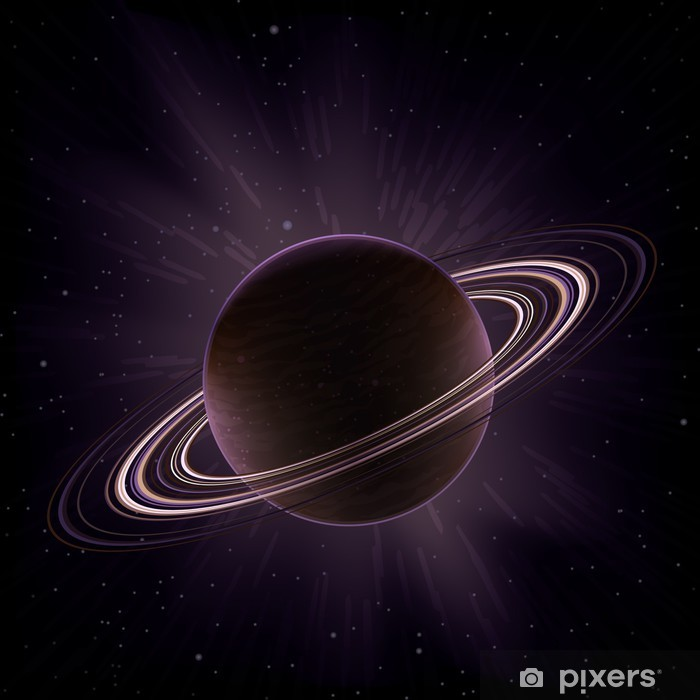 Vector giant gas planet surrounded by rings (like Saturn) Vinyl Wall Mural - Planets