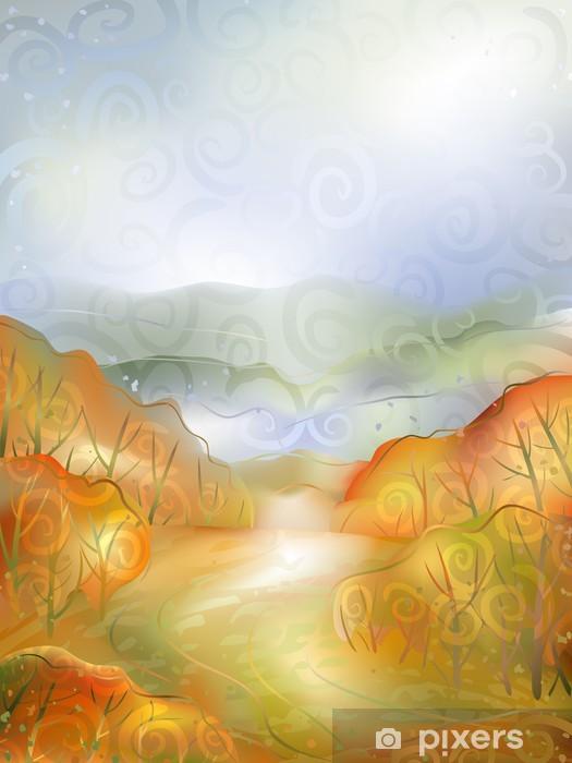 Vinyl-Fototapete Aquarell-stilisierte Vektor einer ruhigen Herbstlandschaft - Jahreszeiten