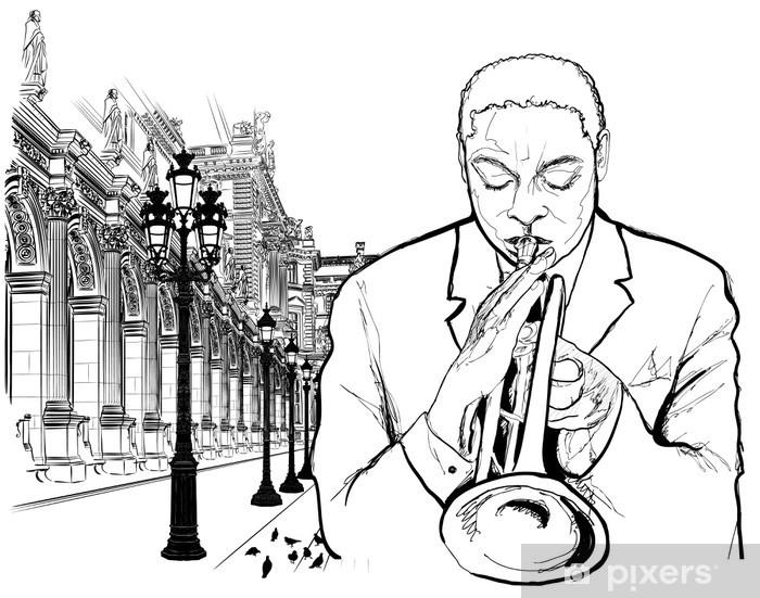 Papier peint vinyle Joueur de trompette à Paris - Jazz