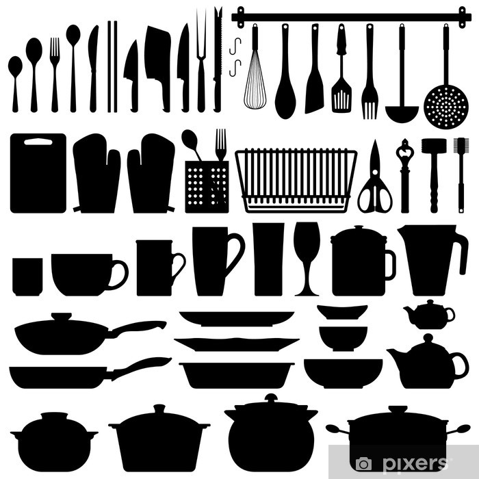 Vinilo Pixerstick Utensilios de cocina Silueta Vector - Vinilo para pared