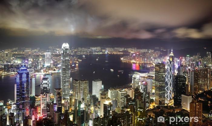 Sticker Pixerstick Hong Kong vue nocturne - Asie