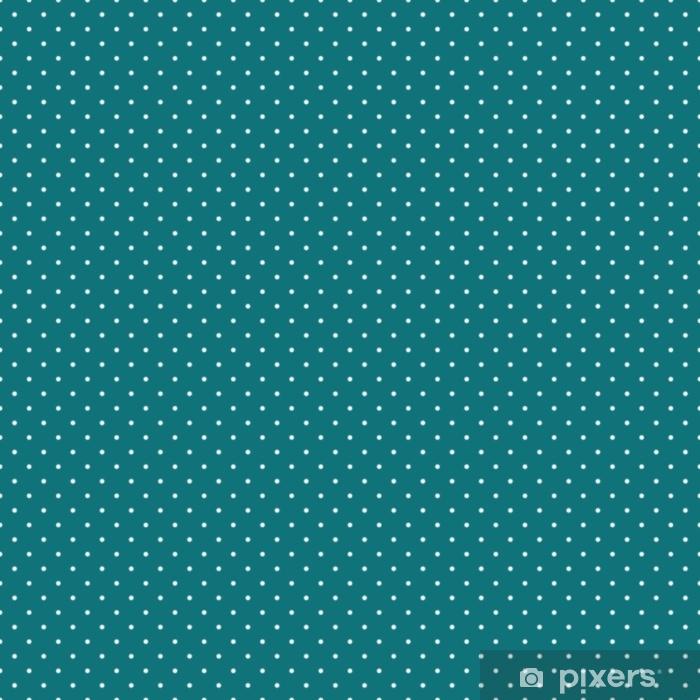 Vinyl Fotobehang Polka dots naadloze patroon - kleine witte polka dots op groenblauw achtergrond - Grafische Bronnen