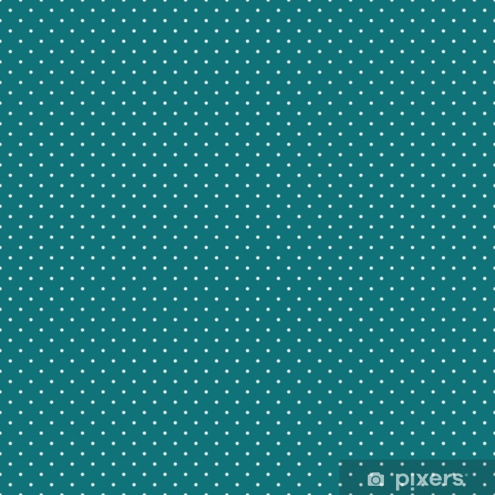 Polka Dots Seamless Pattern - Tiny white polka dots on teal background Vinyl Wall Mural - Graphic Resources