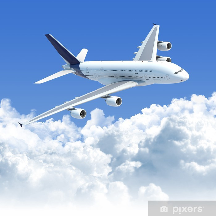 airplane flying over the clouds with clipping path for isolation Poster - Themes