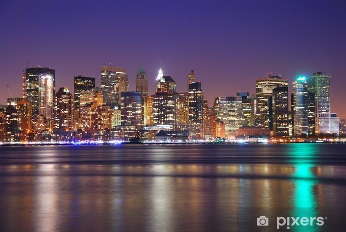 Vinylová fototapeta NEW YORK CITY DOWNTOWN V NOCI - Vinylová fototapeta