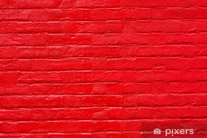 Bright Red Painted Brick Wall Vinyl Mural Backgrounds