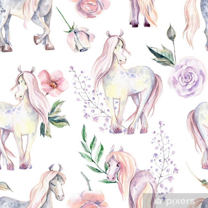 Magic Pony seamless pattern. Watercolor illustration, beautiful Poster - Plants and Flowers
