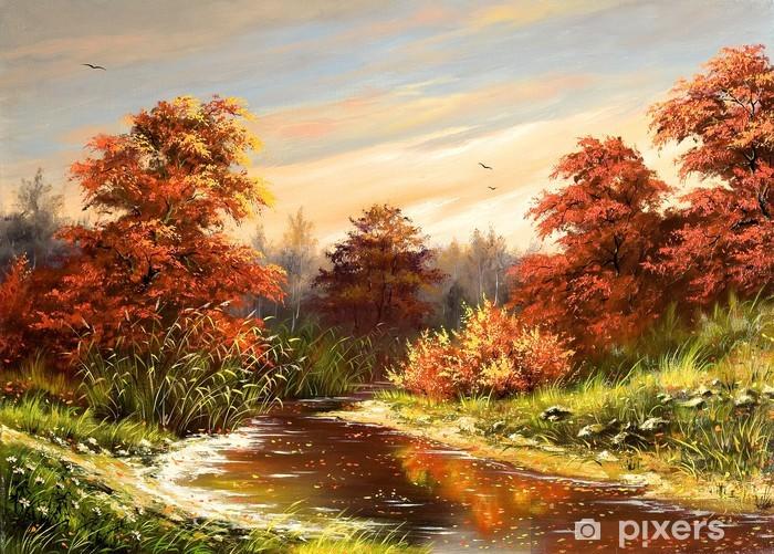 Fototapet av Vinyl Hösten landskap med floden - Floder