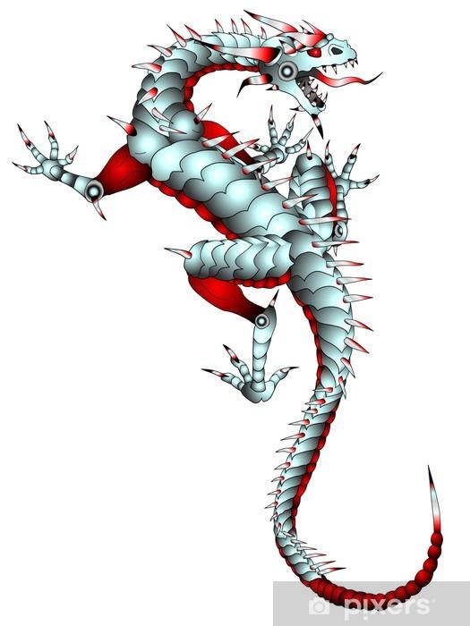 Fototapeta winylowa Lizard Smok Metal Artwork Tattoo - Naklejki na ścianę