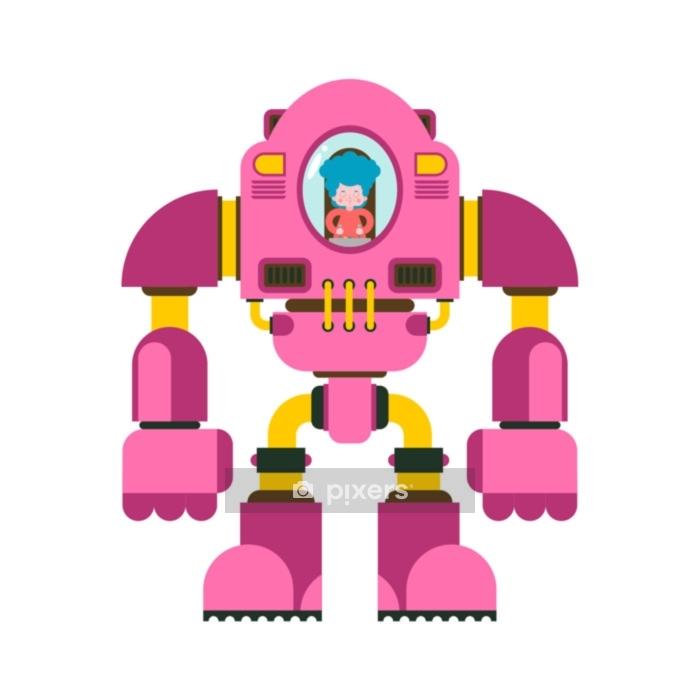 Robotla Kavga Eden çocuklar Küçük Kız Dış Iskelet Mekanik