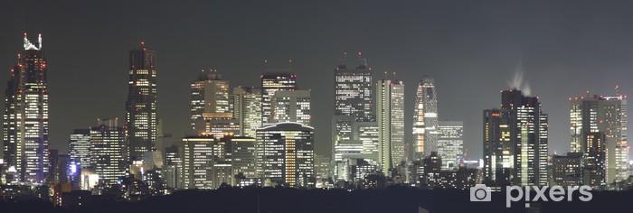 Fototapeta winylowa Tokio w nocy panoramy z podświetlane drapaczy - Tematy