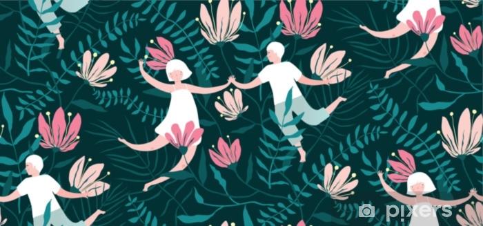 Sticker Pixerstick Modèle sans couture de couple tropiques fleurs et amants - Plantes et fleurs