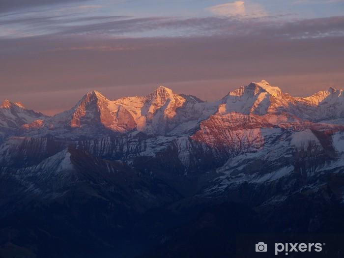 Pixerstick Aufkleber Alpenglühen mit Eiger, Mönch und Jungfrau - Freiluftsport