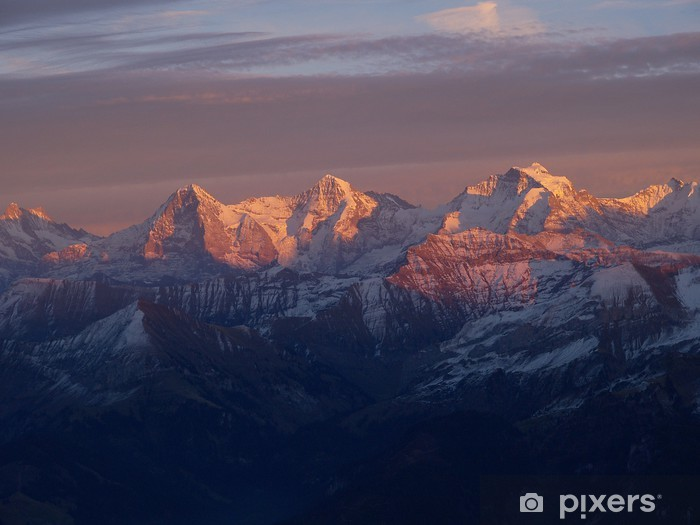 Naklejka Pixerstick Alpenglow z Eiger, Monch i Jungfrau - Sporty na świeżym powietrzu