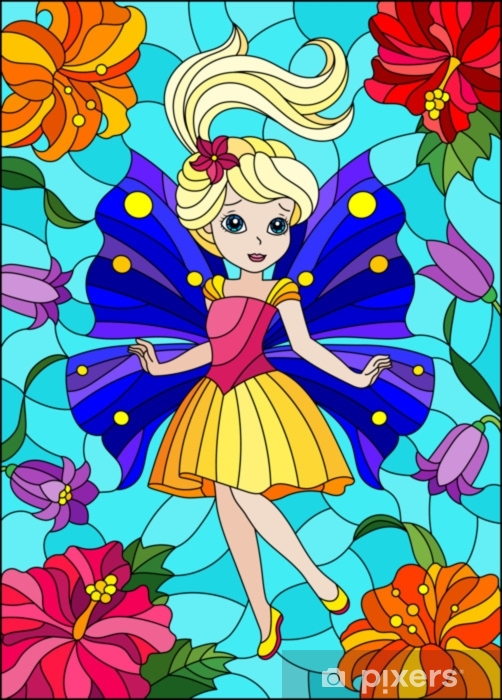 Sticker Pixerstick Illustration dans le style de vitrail avec fée de dessin animé mignon dans une robe brillante sur le fond des fleurs et du ciel - Personnes