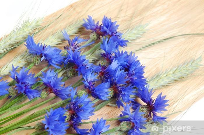 Papier peint vinyle Bleuets et céréales - Bleuets