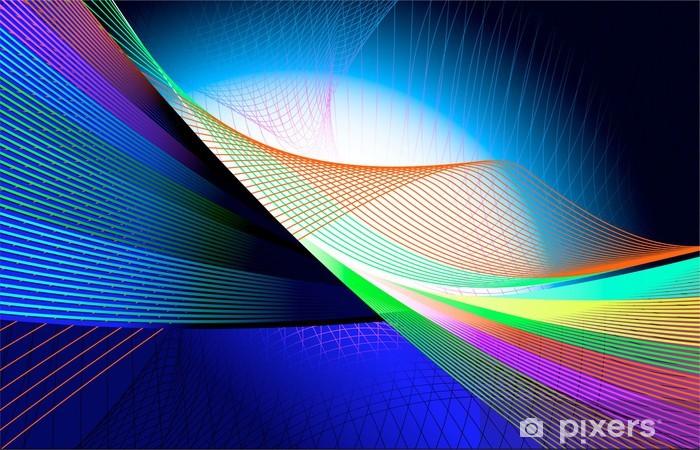 Naklejka Pixerstick Abstrakcyjne tło z niebieskim dźwięki wymieszane w liniach - Tła