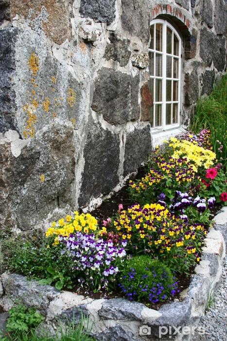 Vinyl-Fototapete Bac à fleur de norvège - Haus und Garten