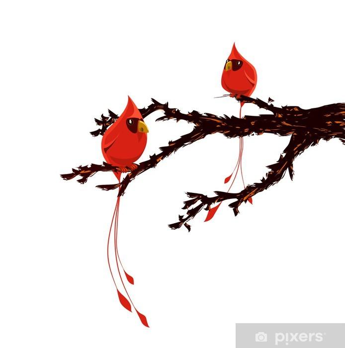 Vinilo pixerstick p jaros rojos en la rama de rbol - Vinilos de pajaros ...