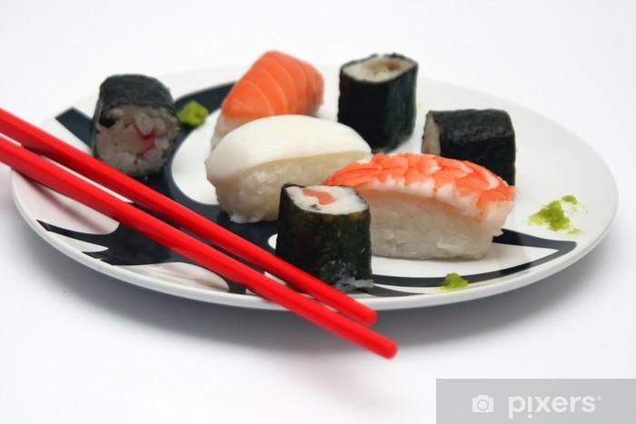 Sushi Su Piatto Tondo E Sfondo Bianco Wardrobe Sticker Pixers