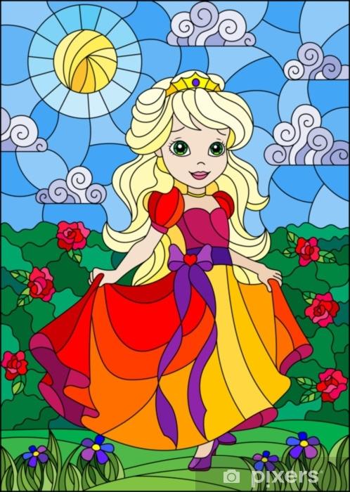 Sticker Pixerstick Illustration dans le style de vitrail avec une princesse mignonne sur un fond de fleurs et de ciel ensoleillé - Personnes
