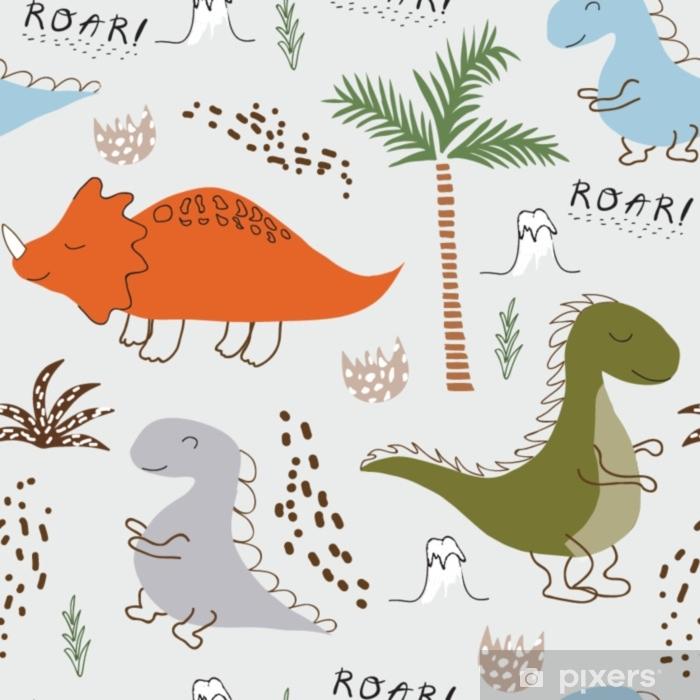 d712b22f0 Fototapet av vinyl Barnlig dinosaur sømløs mønster for mote klær, stoff, t  skjorter. hånd trukket vektor med bokstaver.