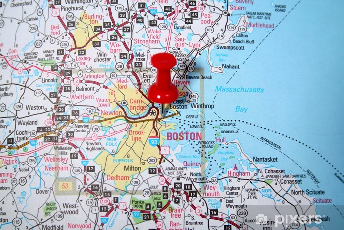 Fototapete Boston Karte Pixers Wir Leben Um Zu Verandern