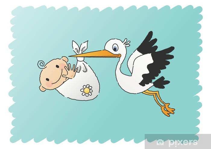 Papier Peint Griffonné Cigogne Avec Bébé