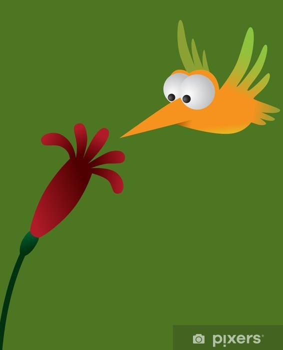 Naklejka Pixerstick Kolibry i kwiat tropikalnej - Ptaki