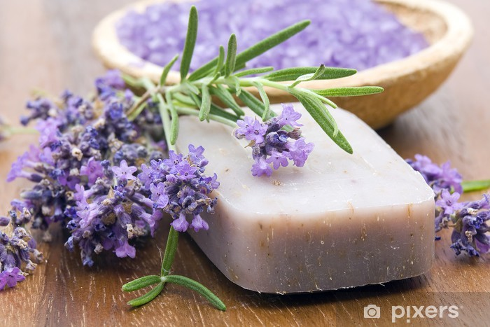 Bar Of Natural Soap Herbs And Bath Salt Wall Mural Pixers We