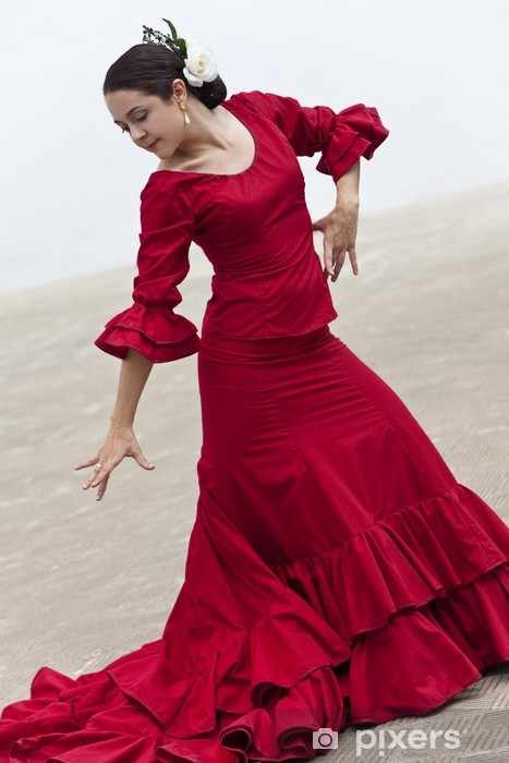 Traditional Woman Spanish Flamenco Dancer In Red Dress Vinyl Wall Mural - Themes
