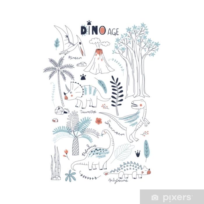9da7e6fb4bbd Fotomural Estándar Dinosaurios dibujados a mano y elementos de la  naturaleza prehistórica ilustración vectorial de verano. Perfecto para  niños camiseta