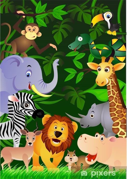 Fotomural Estándar Animales de la selva - Para niña