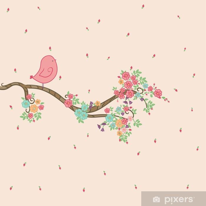 Bird on floral branch Table & Desk Veneer - Preschooler