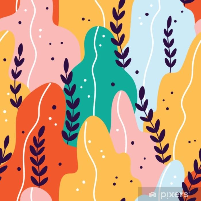 Pixerstick Sticker Kleurrijk exotisch naadloos patroon met takken en bladeren - Bloemen en Planten