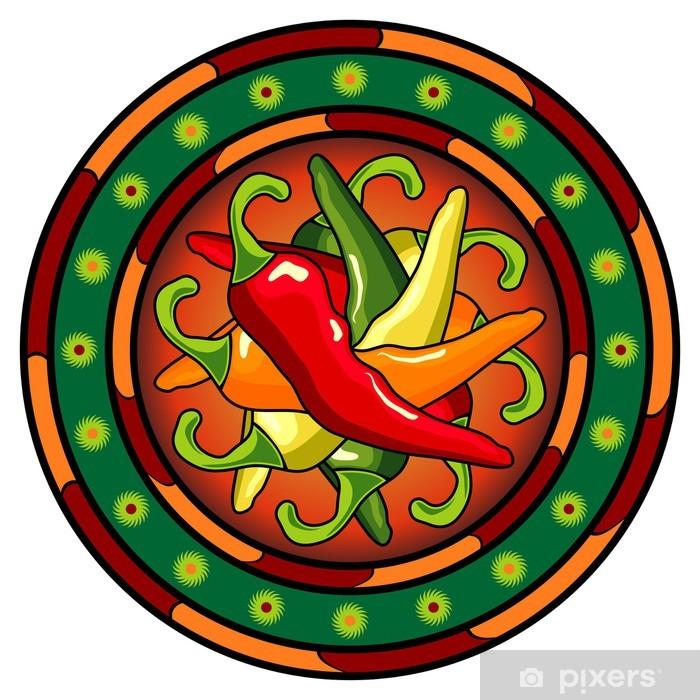 Beyaz Arka Plan üzerinde Meksika Sıcak Biber Logosu Duvar Resmi