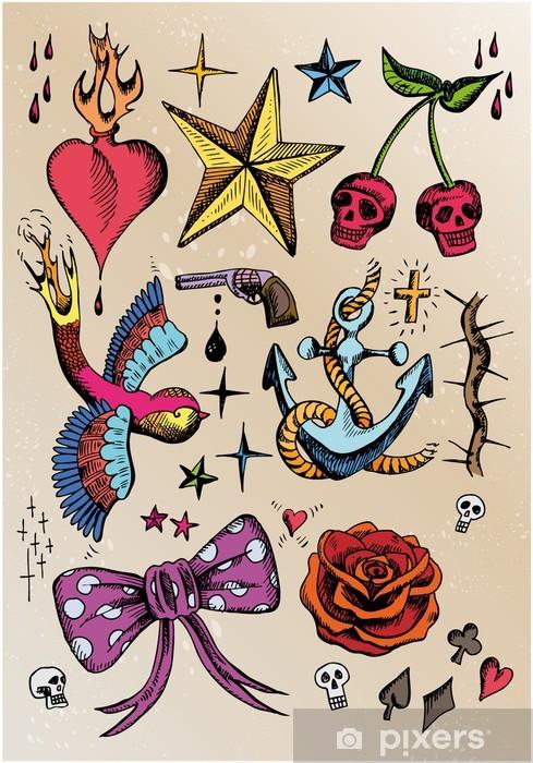 Blumenranke Tattoo Vorlage Poster Posters