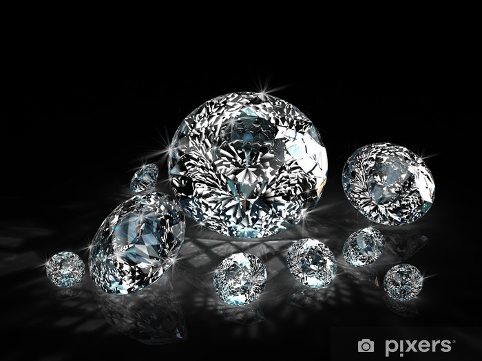 Sticker Pixerstick Diamants sur fond noir - Mode