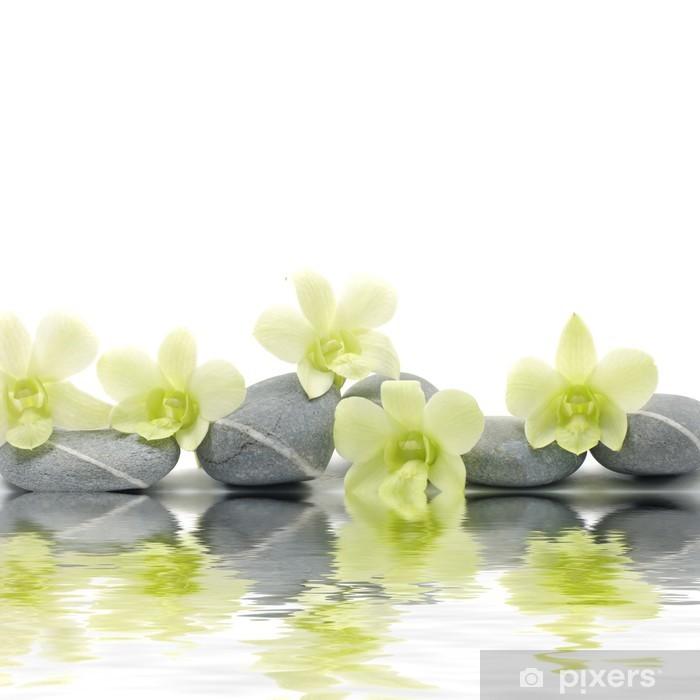 Naklejka Pixerstick Piękny storczyk na zen kamienie z refleksji - Style