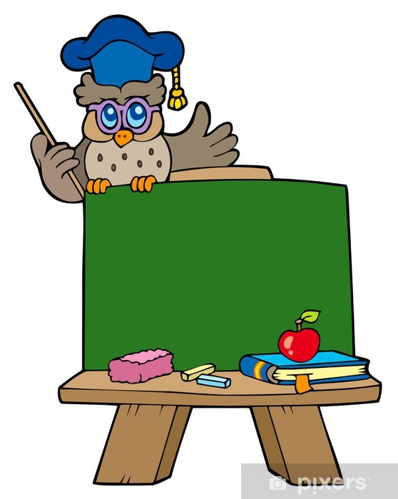 School chalkboard with owl teacher Pixerstick Sticker - Wall decals