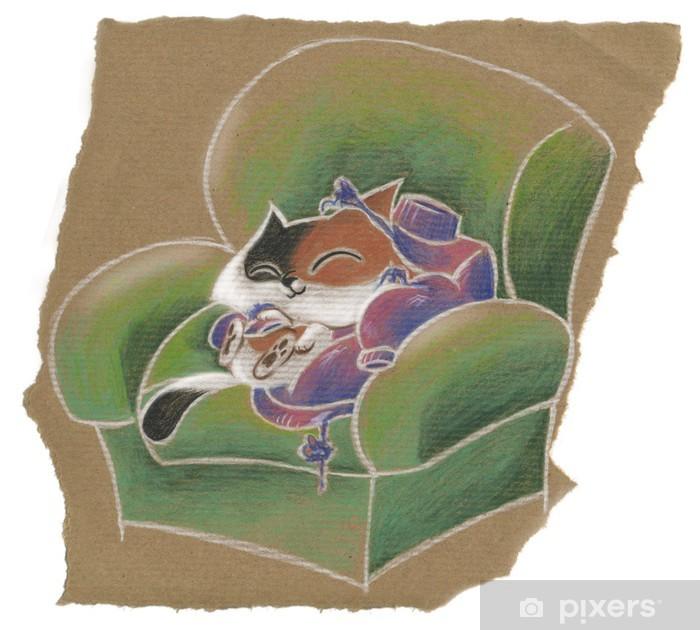 nuovo stile 69450 0d856 Gatto che dorme in poltrona con maglione di lana sfilacciato Wall Mural -  Vinyl