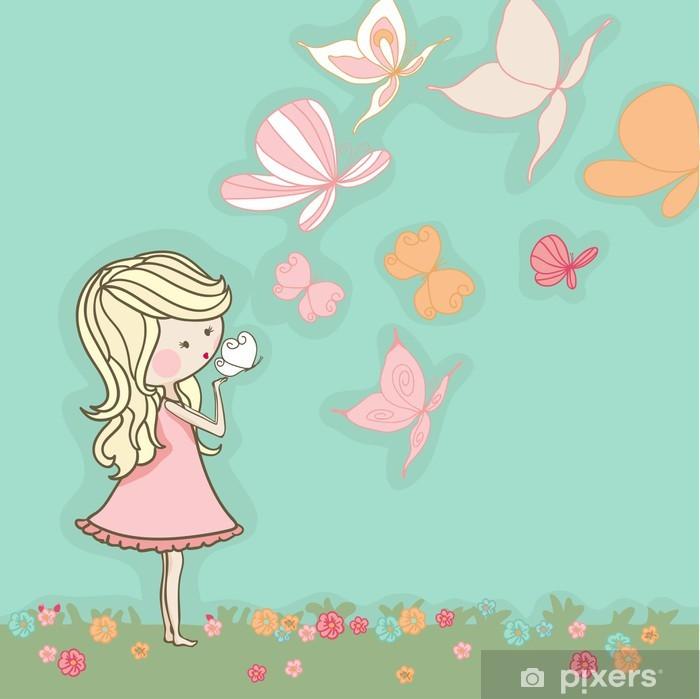 Naklejka Pixerstick Dziewczyna dmuchanie motyle - Dla nastolatki