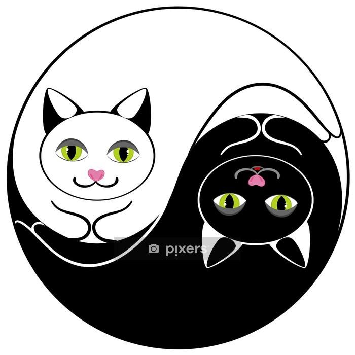 Muursticker Kat ying yang symbool van harmonie en evenwicht - Zoogdieren