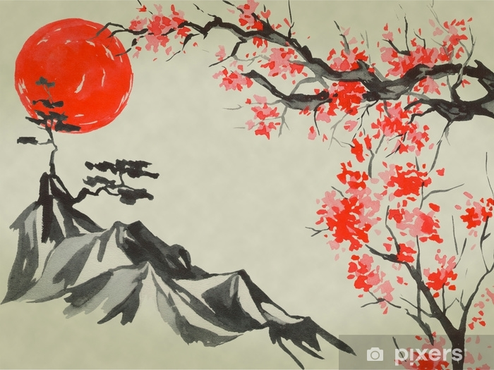 Japan Traditional Sumi E Painting Watercolor And Ink Illustration In Style Sumi E U Sin Fuji Mountain Sakura Sunset Japan Sun Indian Ink