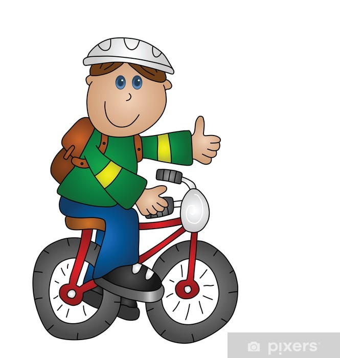 Fotobehang Cartoon jongen op een fiets geïsoleerd op witte ...