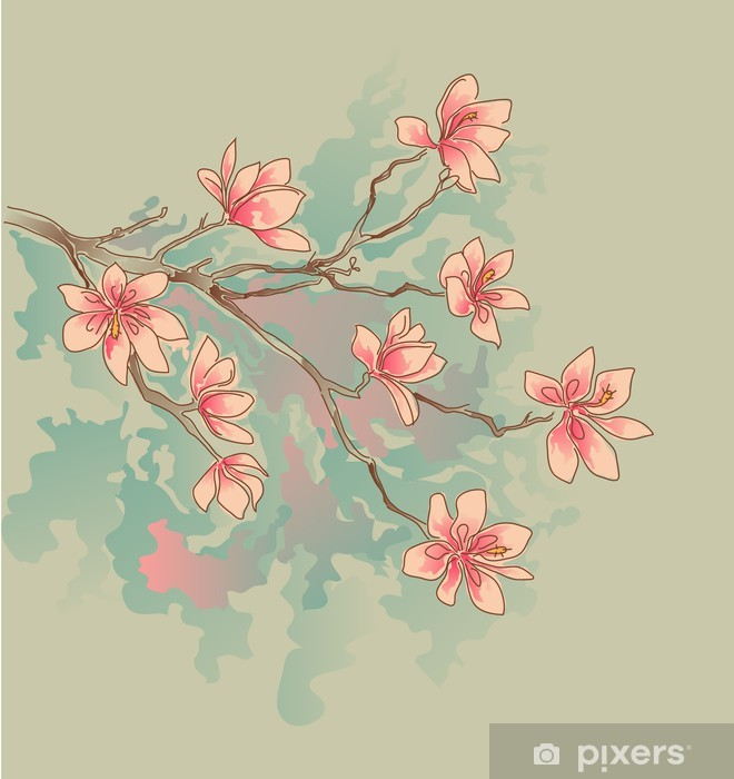 magnolia watercolor Pixerstick Sticker - Themes