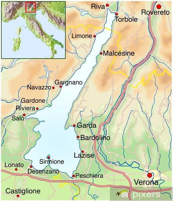 Landkarte Vom Gardasee Wall Mural Pixers We Live To Change